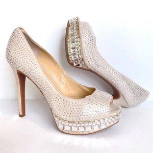 Gianni Bini Rhinestone Crystal Platform Peep Heels